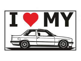 Наклейка на авто I Love My BMW